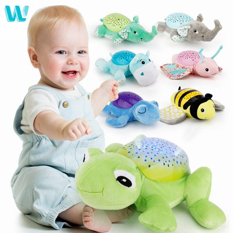 WINCOTEK Baby Sleep LED Lighting Stuffed Animal Led Night Lamp Plush Toy With Music Stars Projector Light Baby Toys For Children